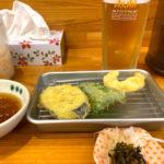 小倉「天ぷら 天善」1杯・天ぷら3品の昼飲みセット500円が嬉しい!副菜食べ放題の気軽な天ぷら食堂